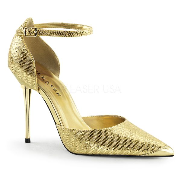 Stiletto D´Orsay Pumps mit Metallabsatz in gold APPEAL-21